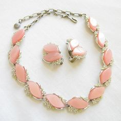 Vintage PINK Lucite with White Enamel Flowers & Clear Rhinestones Necklace & Earrings Set by MyVintageJewels, $24.00