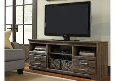 Frantin - LG TV Stand w/Fireplace Option by Signature Design by Ashley. Get your Frantin - LG TV Stand w/Fireplace Option at Dayton Discount Furniture, Fairborn OH furniture store. Cheap Furniture Stores, Discount Furniture Stores, Cool Furniture, Wholesale Furniture, Furniture Makeover, Home Entertainment, Entertainment Furniture, Entertainment Centers, Large Tv Stands