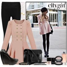 City girl outfit: light pink trench coat baby doll style, with black wedge heels, black beanie hat, black leggings