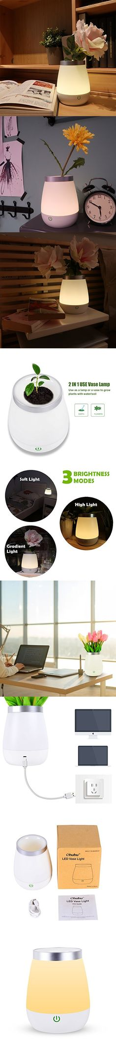 Ohuhu USB Rechargeable LED Vase Lamp Table Nursery Night Light For Bedroom Kids
