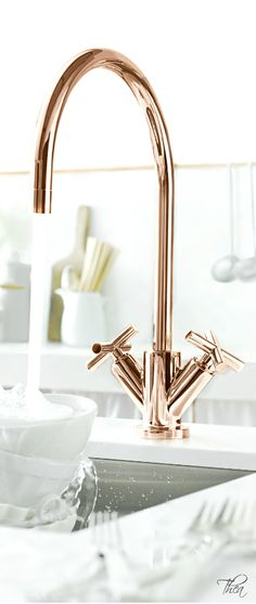 Rose Gold/Copper ● Kitchen ~I think it's important to have a nice kitchen faucet, but I really just don't care about them. They're all just blah. (except this one. I like the angle of the handles)~