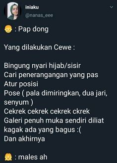 ya ampun cewek 😚 Funny Tweets, Funny Quotes, Funny Memes, Quotes Lucu, About Twitter, Captions, Qoutes, My Life, Lol