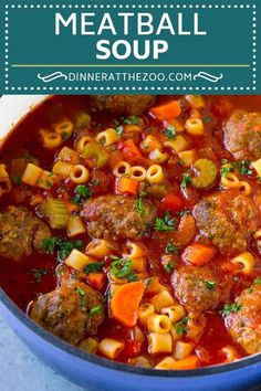 This Italian meatball soup is tender beef meatballs, vegetables and pasta, all simmered in a rich tomato broth. An easy dinner option! Easy Soup Recipes, Beef Recipes, Cooking Recipes, Healthy Recipes, Recipes With Beef Meatballs, Budget Recipes, Healthy Soup, Recipies, Food Dinners