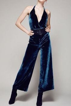 Cheap sexy jumpsuit, Buy Quality halter jumpsuit directly from China jumpsuit women Suppliers: Blue plunge V neck velvet wide leg halter jumpsuits women lace up open back sexy jumpsuits ladies elegant high waisted jumpsuits Silk Romper, Silk Jumpsuit, Long Romper, White Romper, Black Velvet Jumpsuit, Romper Pants, White Pants, 70s Fashion, Fashion Outfits