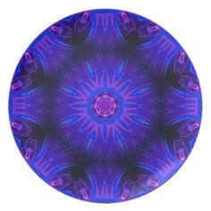 Blue Abstract Melamine Plate http://www.zazzle.com/usadesignstore*