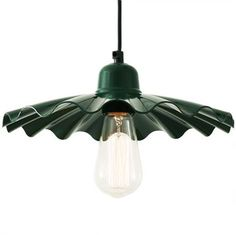 A modern factory style ceiling pendant light in a powder coated racing green finish with frill design. Great over tables and kitchen islands Industrial Pendant Lights, Contemporary Pendant Lights, Pendant Lighting, Industrial Interiors, Industrial Style, Ceiling Pendant, Ceiling Lights, Lights Fantastic, Kitchen Island Lighting