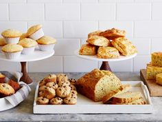 Quick Breads, Scones, Muffins and More : Food Network Quick Bread Recipes, Muffin Recipes, Baking Recipes, Breakfast Recipes, Baking Tips, Simple Recipes, Scone Recipes, Kids Baking, Breakfast Muffins