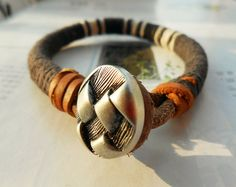 Christmas Gift Unique Style Metal Button Charm Grey White Cotton Thread Woven Nature Brown Leather Belt Fashion Bangle Wrap Bracelet  C-81