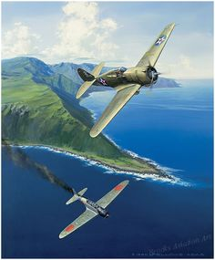 "Hawk of Haleiwa by Jack Fellows  December 7th. 1941, 2nd. Lt. Harry Brown flying an obsolete P-36 downs his second Japanese ""Kate"" bomber on..."