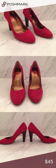 """Red Suede Lauren Ralph Lauren Heels 3.5"""" heel, red suede Lauren by Ralph Lauren chunk heels. Great to excellent condition. Style- Rylie and size 5.5 B Lauren Ralph Lauren Shoes Heels"""