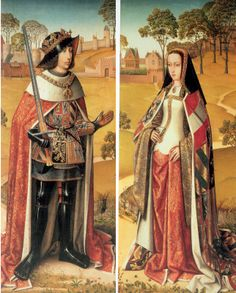 Also known as Juana la Loca (Joanna the Mad), she was a daughter of Isabel of Castile and Ferdinand of Aragon, wife of Philip the Fair (who is depicted in the left panel of the triptych), mother of Holy Roman Emperor Charles V and sister to Catherine of Aragon.