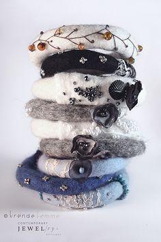 Hand Felted Boho Bangle Autumn Berries Made to Order Fiber Art Jewelry, Textile Jewelry, Fabric Jewelry, Jewelry Art, Felted Jewelry, Jewellery, Felt Bracelet, Felt Necklace, Needle Felting