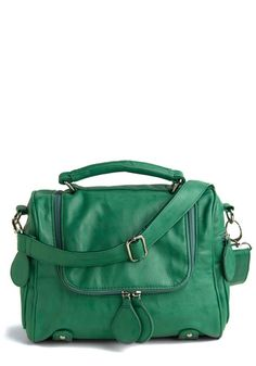 Teal bag.  Would look awesome with a thick chocolate sweater for the fall, yes?