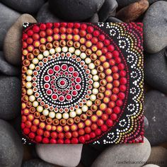 "Dot Painting, Fire Design, Biripi Artist Raechel Saunders, 4"" x 4"" canvas board, Australian Aboriginal Acrylic Painting, Biripi Art"