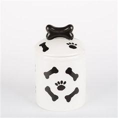 Black & White Paws/Bones Ceramic Treat Jars - BD Luxe Dogs & Supplies