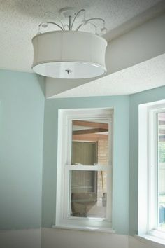 Love the wall color - Dusty Aqua by Valspar