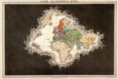 """A.D. 1498, The Discovery of America,"" a page from an 1830 historical atlas that showed the clouds of ignorance dissipating with time as geographic knowledge increased."