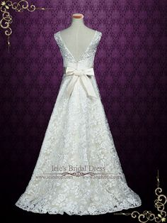 Elegant Lace A-line Wedding Dress with V Open Back Simple
