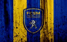 Download wallpapers FC Sochaux, 4k, logo, Ligue 2, stone texture, France, FCSM, Sochaux, grunge, soccer, football club, Liga 2, Sochaux FC