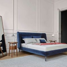 Buy Ligne Roset Desdemone Bed from our exclusive range of modern furniture and lighting at Chaplins. Showcasing the very best in contemporary design. Bedroom With Bath, Master Bedroom Design, Bedroom Bed, Bedroom Decor, Bedroom Ideas, Blue Bedroom, Bedroom Lighting, Master Bedrooms, Bedroom Designs