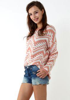Aztec Triangle Pattern Jumper in Peach/White - Dress - Retro, Indie and Unique Fashion
