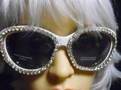 26123f13e2e Vintage White Rhinestone Oversized Sun Glasses Iris Apfel Inspired