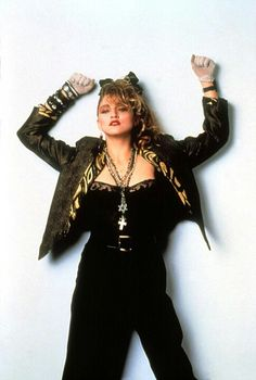 Madonna was a fashion icon in the 80's. with a perm to match her 'out there' outfit