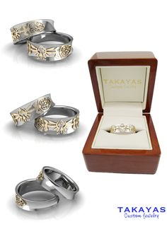 """Zelda  In a world full of chaos, this """"Legend of Zelda"""" collection is the perfect symbol for tying the knot. Composed of white and yellow gold and diamonds, With the golden triangles that symbolize the legend of the Tri-force.  Princess Zelda would not have a doubt in her mind but to say """"I DO"""" to these perfect rings"""