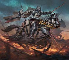 Gothic Fantasy Art, Fantasy Armor, Dark Fantasy, Medieval Knight, Medieval Armor, Medieval Fantasy, Armadura Medieval, Knight Tattoo, Crusader Knight