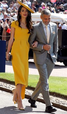 Amal Clooney Officially Crowned Best Dressed Guest At Royal Wedding Yellow Dress Accessories, Yellow Dress Shoes, Yellow Dress Casual, Yellow Wedding Dress, Mustard Yellow Dresses, Yellow Dress Summer, Yellow Gown, Race Day Outfits, Races Outfit