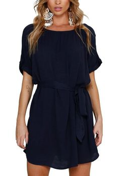 Navy Casual Chic batwing sleeve boat neck Short Chiffon Dress with a slouchy silhouette