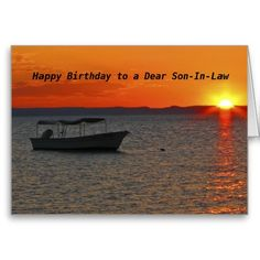 Fishing Boat, Happy Birthday to a Dear Son-In-Law, Greeting Card - This colorful card , with a silhouette of a #fishing boat at #sunset, is a nice way to wish your #Son-In-Law a Happy Birthday. We also have matching gift items, such as kindle covers, iPad cases, phone cases, and other gifts. Even wrapping paper! You can customize the card and the matching products, to make them even more special. All Rights Reserved © 2013 Alan & Marcia Socolik.