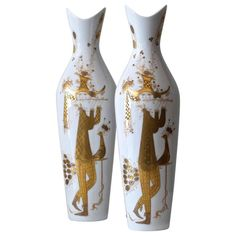 Pair of Bjorn Wiinblad Quatre Couleurs Vases | From a unique collection of antique and modern porcelain at https://www.1stdibs.com/furniture/dining-entertaining/porcelain/