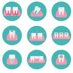 Colección de iconos de dientes Vector Gratis