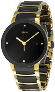 #Rado Men's R30929712 Centrix #Jubile Gold Plated Stainless Steel Bracelet Watch:Stainless steel case with a gold-plated stainless steel bracelet with black ceramic inserts. Fixed black ceramic bezel.