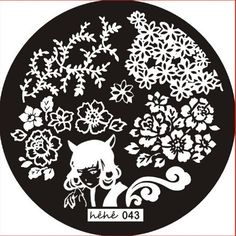 Hehe stamping plate 043 Chinese flowers leaves cat girl
