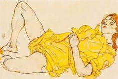 Reclining Woman with Yellow Dress - Egon Schiele Austrian 1890-1918