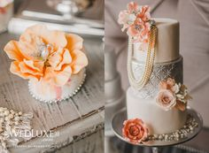 mini cakes and jewelry cakes with sugar flowers