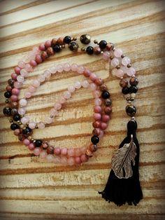 Pink Leopard Mala - Leopard Jasper / Rhodanite / Rose Quartz / Onyx by FromYourMat on Etsy