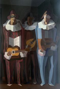 La Ultima Serenata (The Last Serenade) by Emilio Pettoruti (Argentinian), oil on canvas, genre: Cubism, 1937 Stock Character, Music Painting, Georges Braque, Emilio, French Art, Clowns, American Art, Fine Art Photography, Sculpture Art