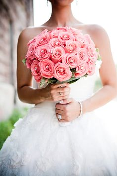 Coral wedding bouquet with diamond accents... Always loved this look... So classic and chic!