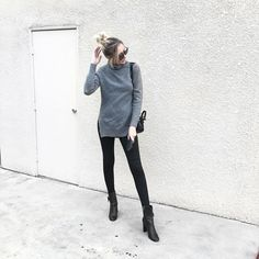 Fall Outfit Ideas Carly Cristman wearing grey Elliatt sweater and black skinny Joes Jeans with ankle boots