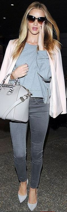 Rosie Huntington-Whiteley: Jewelry – Anita Ko  Jacket – Stella McCartney  Jeans – Frame  Purse – Givenchy  Shoes – Manolo Blahnik