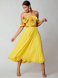 Virgos Lounge Bright Ebonee Floral Embellished Full Skirt Party Dress 10 38 New Virgos Lounge, Bardot Dress, Embellished Dress, Occasion Wear, Dress Outfits, Dresses, Fashion Outfits, Yellow Dress, Skater Dress