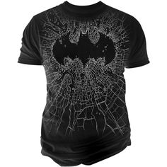 Changes Batman Broken Glass T-Shirt ($24) ❤ liked on Polyvore featuring men's fashion, men's clothing, men's shirts, men's t-shirts and black