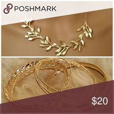 💥Deal of the Day💥Multi Leaf Necklace & Bracelet Multi Leaf Chain Necklace. Length: 5 inches. Color: Gold & Multi Leaf Shape Band Bracelet Color: Gold. **Seller's Discount: 20% off 2 or more items.** Jewelry Necklaces