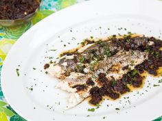 Whole Grilled Fish With Olive-Tomato Compote Recipe | Serious Eats