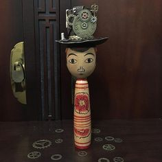 SteamKokeshi Hat featured on @KokeshiTrends instagram. Hat made by Soulportals. Traditional Nakanosawa doll by Iwamoto Yoshizo.