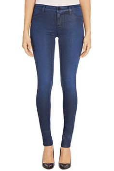 New Arrivals: J BRAND 485 Mid-Rise Super Skinny in Coated Blue Reign.