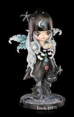 Elfen Figur mit Katze - Black Stars | Elfen | Figuren | Dekoration | Gothic-Shop | www.figuren-shop.de